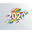 new year 2020 card on modern motion background vector image vector image