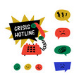 psychology crisis hotline support call vector image
