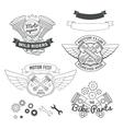 set biker vintage labels oldschool motor logo vector image