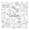 set happy easter elements black and white vector image vector image