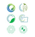 set of modern eco friendly icon vector image vector image