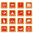 sri lanka travel icons set red vector image vector image