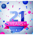 Twenty one years anniversary celebration on grey vector image vector image