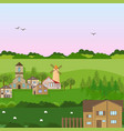 village houses in a field green nature vector image vector image