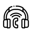 voip system headphones icon outline vector image