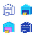 warehouse with box icon set in flat and line style vector image