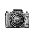 Black and white ink hand drawn camera vector image