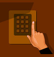 hand with security keypad buttons cartoon vector image