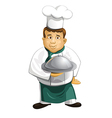 Chef in uniform with metal cloche isolated vector image
