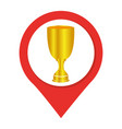 map pointer with trophy cup vector image
