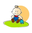 Young boy playing with a toy truck vector image