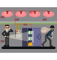 Bank hacking safe crime scene security system vector image