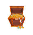 cartoon wooden chest with shiny golden coins blue vector image