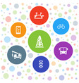 7 road icons vector image vector image