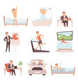 active man daily routine lifestyle everyday vector image
