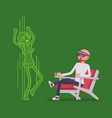 augmented reality man relaxing with adult content vector image vector image