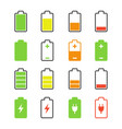 battery set charge and discharge rates icons vector image vector image