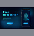 biometric face recognition on smartphone vector image vector image