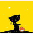black halloween cat silhouette on the night roof vector image vector image