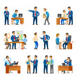 boss and workers activities in office set vector image vector image