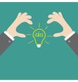 Businessman hands holding idea light bulb Flat vector image