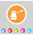 Cezve turkish coffee pot icon flat web sign vector image