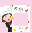 chef menu cute girl vector image