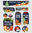 christmas sale tag and winter holiday offer banner vector image vector image