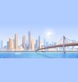 city bridge landscape cartoon vector image vector image