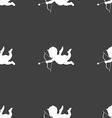 Cupid icon sign Seamless pattern on a gray vector image vector image