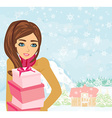 Cute Girl with gift box vector image vector image