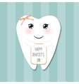 Cute greeting card Happy Dentist Day as funny vector image vector image