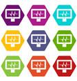 electrocardiogram monitor icon set color vector image vector image