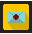 Envelope with red wax seal icon flat style vector image vector image