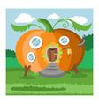 fantasy gnome pumpkin house cartoon fairy vector image vector image