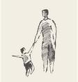 father baare walking hand drawn sketch vector image vector image