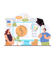 financial economic business literacy education vector image vector image