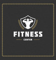 fitness gym badge or emblem vector image vector image