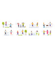 fitness workout set with people characters vector image