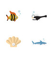 flat icon nature set of seafood shark fish and vector image vector image