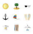 flat icon summer set of wiper spectacles beach vector image vector image