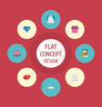 flat icons accessories brilliant patisserie and vector image