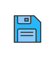 floppy disk save flat color line icon vector image vector image