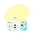 funny milk characters - bottle glass carton box vector image vector image