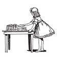 girl placing books on table counter vintage vector image vector image