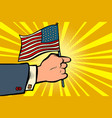 hand with american flag independence day vector image vector image