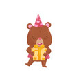happy girl bear holding present in paws cute vector image vector image
