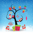happy merry christmas with funny kids and gifts vector image