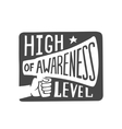 high awareness level label vector image vector image