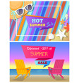 hot summer sale with 25 off promo posters set vector image vector image